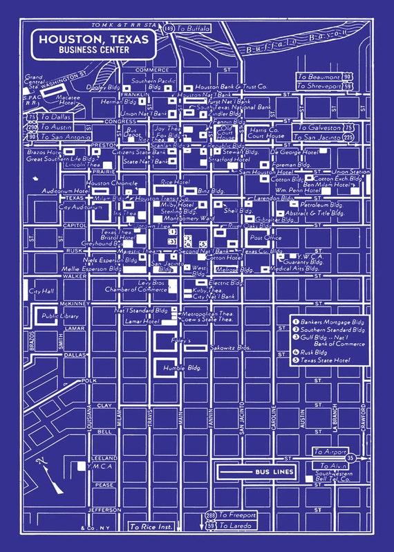 1949 vintage map of downtown houston texas blueprint print malvernweather Choice Image
