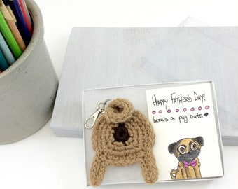 Pug Dad Gift, Pug Keychain Gift with Card, Father's Day Card, Pug Dad, Pug Butt