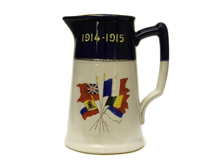 WW1 Commemorative Jug. Antique War Memorabilia Pitcher with 1914 - 1915 Military Flags. French Stoneware Pitcher. Military Decor.