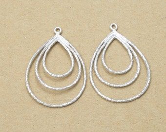 Tear Drop Pendant, Jewelry Craft Supplies, Pewter Charm, Matte Rhodium Plated Over Pewter - 2 Pieces-[AP0009]-MR
