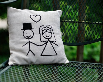 Bride and Groom Stick Figure Pillow Cover