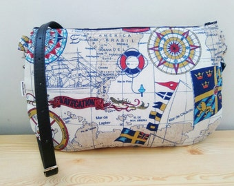Sailor bag,sailor clutch,sailor print clutch,map bag,map purse,colors bag,crossbody bag,multicolor handbag,printed bag,spring bag,kawaii bag