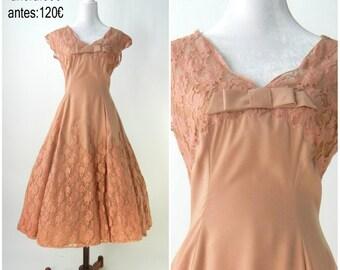 Vintage 1950  Lace Dress / 1950s Vintage Party Dress / Medium