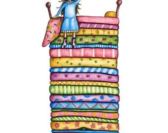 Watercolour Princess and the Pea Art Print
