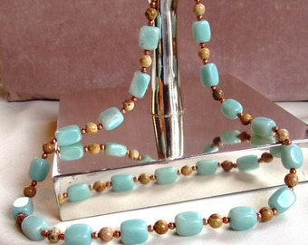 Amazonite Nuggets, Picture Jasper Rounds and Copper Rounds Beaded Necklace