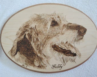 Irish Wolfhound Pet Portrait Solid Maple Wood Burned Plaque Made to Order 8 x 12 inch by Shannon Ivins Pigatopia