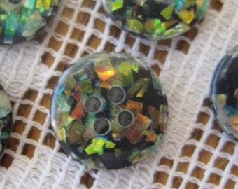 Vintage Buttons 12 Small Plastic Confetti Buttons  HK 1