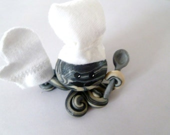 Awesome Little Octopus Chef in Black and Icy Pearl Swirl with Handmade Spoon Oven Mit and Hat