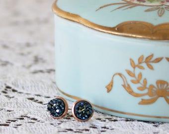 Tiny Druzy Earrings - Metallic Blue Druzy Stud Earrings - Faux Druzy Earrings - Earrings for a Sister - Earrings for a Friend - Druzy Posts