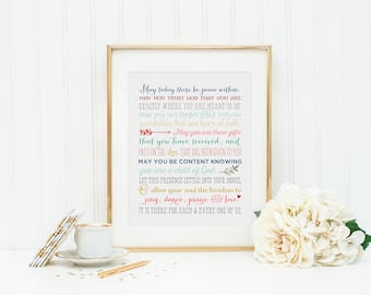 May today there be peace within prayer by St. Therese. St. Therese of Lisieux Prayer Print. Christian Wall Art Print. Colorful Prayer.