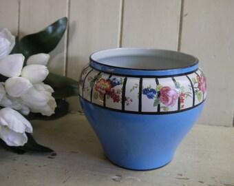 Vintage Floral Plant Pot - circa 1950s