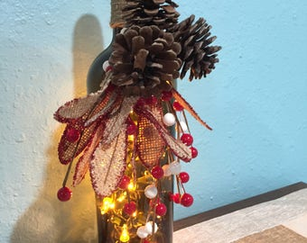 Handmade Recycled Wine bottle light ~ 20 count white string lights ~ winter ~ Flowers ~ Christmas~ home decor ~ great holiday gift ideas