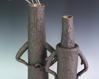 Tall black vase. Body language. Large nun Vase with attitude. tree with arms, Ent ceramic sculpture. Large statement vase,  by Chelsea Mae