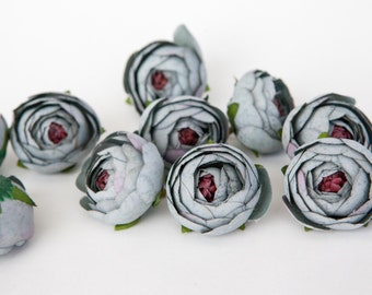 10 Small Vintage Inspired Ranunculus in Blue Stone Gray - silk artificial flower, millinery flower - ITEM 01011