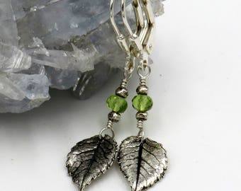 Rose Leaf Earrings - fine silver, sterling silver, peridot rondelle - one of a kind!