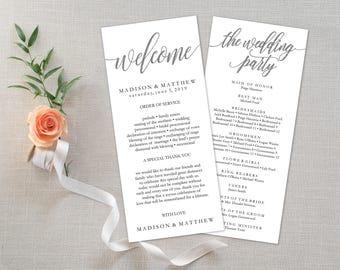 "Wedding Program Editable Template | Program Printable, Ceremony Printable|Silver Rustic Calligrapy Hand Lettered| 4x9"" |No. EDN 5183B Silver"