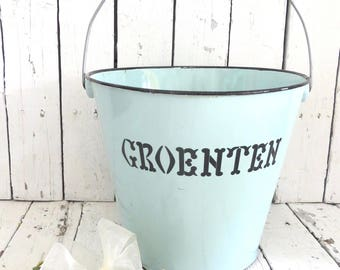Vintage Bucket, Garden Planter, Metal Rustic Planter, Cottage Decor, Dutch Farmhouse, Plant Holder, Vegetable Bucket, Country Kitchen