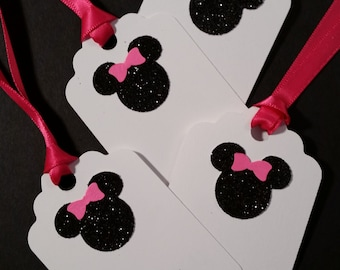 Gift Tags ~ Hand-Glittered Minnie Mouse Tags with Ribbon, Minnie Mouse, Disney Party, Goody Bag Tags, Place Cards, Vacation Swag
