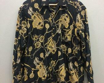 Vintage Silk Baroque Royalty Shirt La Dic Blos International Italy