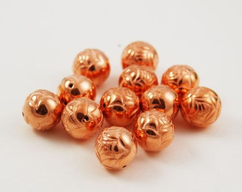 12mm Copper Rose Beads Embossed Rounds - 12 beads