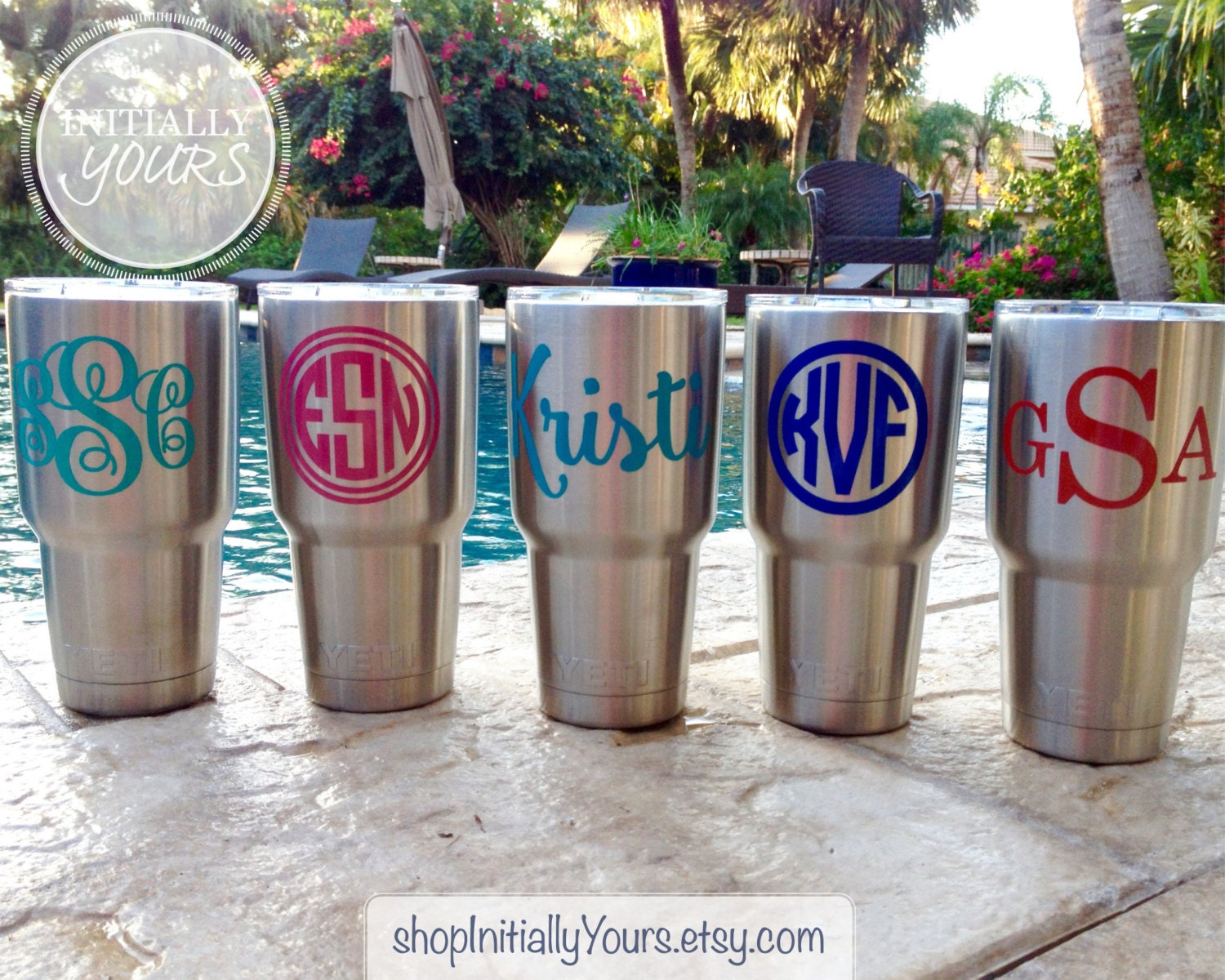 Monogram Decal For Yeti Personalized Name Vinyl Stickers For - Vinyl stickers for cups