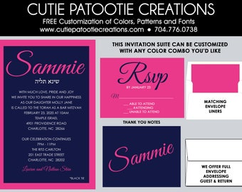 Bat Mitzvah Invitations - Bat Mitzvah Invitation - Navy Blue Pink - Add Matching RSVP Cards, Thank You, Envelope Addressing - Custom Colors