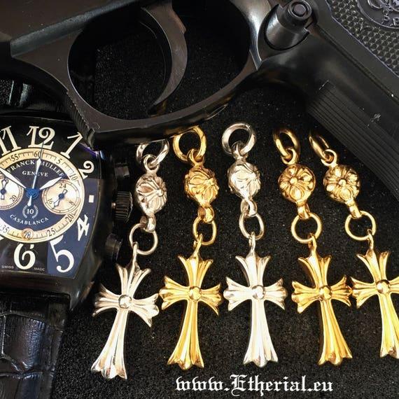 Etherial Jewelry Rock Chic Talisman Luxury Biker Custom Handmade Artisan Pure Sterling Silver .925 Handcrafted Designer Biker Cross Key Ring