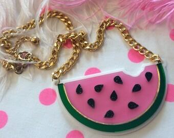Watermelon Slice Acrylic Necklace