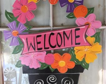 Front door decor, door decorations, flower bouquet, spring door hanger, summer door hanger