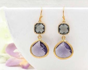 Purple Amethyst and Gray Earrings, Drop and Dangle Teardrop Glass Jewel Earrings, Wedding Bridal Bridesmaid Mom Wife Gift for Her