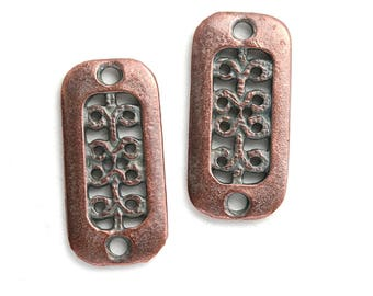 Antique Copper Rectangle Ornament Two hole connectors, Greek metal casting patina findings, rectanglular charms, 2Pc - F612