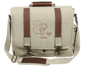 Nuts Squirrel Embroidered Canvas with Leather Accents Premium Laptop Bag