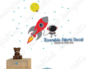 Space Wall Decal with Astronaut, Planets, Rocket Wall Decal (Rocket Mission Light Wall) RMRH
