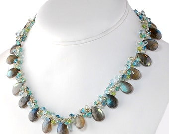Labradorite Necklace with Blue Topaz, Green Amethyst, Peridot and Apatite, 18K Blue Topaz Necklace, 18K Labradorite Necklace