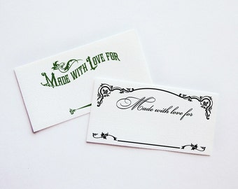 """Made With Love Vintage Fabric Labels • You Add the Name • Sew-on or Iron-on •  80 Labels at 2 x 1"""" •  Colorfast  •  Black or Colors • Uncut"""