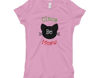 Cinco De Meow Cute Cat Cinco De Mayo Girl's T-Shirt