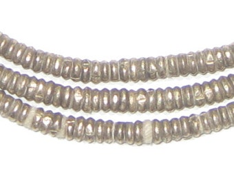 200 Silver Heishi Beads - Ethiopian Metal Beads 4mm - African Silver Beads - Jewelry Making Supplies - Made in Ethiopia * (MET-HSHI-SLV-248)