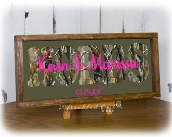 Camouflage Last Name Wood Canvas Sign, Camoflage Wedding Gifts, Camo Gift Sign, Framed Family Name, Camoflauge Canvas Wood Sign 8X20, 10x20