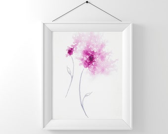Downloadable artwork, Pink flower art, Abstract flower painting Instant Digital Download, Nursery decor