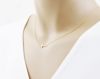 Tiny Sideways Cross Necklace Gold / Silver Cross Charm Necklace Bridesmaid Gift Birthday Gift