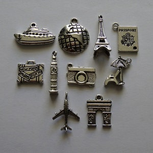 Mixed Lot 10 Silver Travel Theme Jewellery Craft Charms