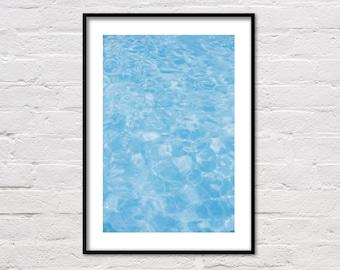 Pool Water Print, Swimming Pool Print, Blue Water, Printable Art, Pool Photo, Water Ripples, Pool Art, Minimalist Wall Art, Digital Prints