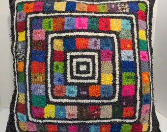 "decorative pillow hand hooked with hand dyed wool backing 18""x18"""