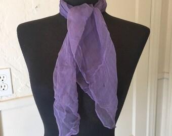 FRENCH LAVENDER Vintage Purple Scarf, Sheer Nylon Scarf, Purple Chiffon Scarf, Lavender, 50's 60's Style, Rockabilly, Head Scarf, Neck Scar