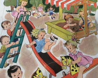 Antique Golden Press, Inc. Playskool Puzzle, Nursery Decor, Playground Fun, 1950s Jigsaw , Cardboard Children's toys