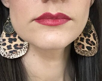 Authentic Louis Vuitton Canvas upcycled earrings leopard print and rose gold leather best selling color combination