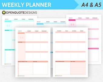 Filofax A5 Inserts, A5 Planner Inserts, A5 Weekly Planner Pages, Filofax A5 Inserts, Kikki K Large, Habit Tracker, Weekly Calendar