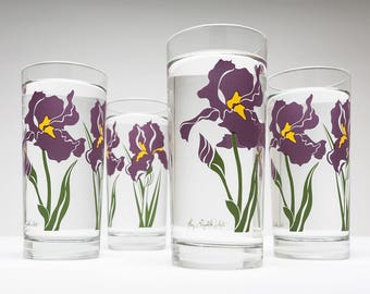 Purple Iris Drinking Glasses - Set of 4 Everyday Water Glasses, Mother's Day Gift, Gift for her, Purple Irises, Iris glasses, Iris glassware