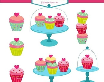 ON SALE cupcake clipart , Digital clipart cupcake,  cupcake party 2 clipart,  INSTANT Download