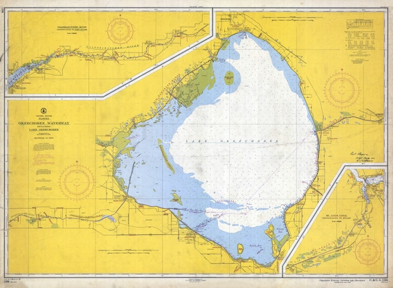 1958 Nautical Map of Lake Okeechobee Florida